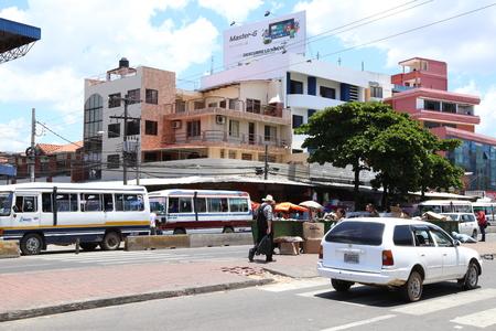 BOLIVIA, SANTA CRUZ DE LA SIERRA, 26 JANUARY 2017 - Street scene of Santa Cruz De La Sierra city in Bolivia, South America Editorial
