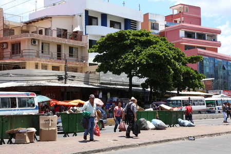 dumps: BOLIVIA, SANTA CRUZ DE LA SIERRA, 26 JANUARY 2017 - Dirt and rubbish dumps in a street of Santa Cruz in Bolivia