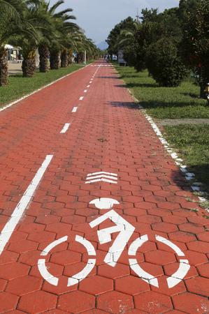 Cyclist sign at the Bicycle Path on the Batumi Boulevard, Georgia Фото со стока