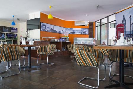 BOLIVIA, SANTA CRUZ, LAS PALMAS HOTEL, 18 JANUARY 2017 - Interior of modern cafe with swedish breakfast Editorial