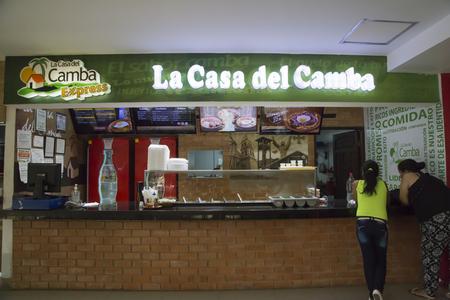 BOLIVIA, SANTA CRUZ DE LA SIERRA, 19 JANUARY 2017 - People in fast food cafe of traditional Bolivian food LA CASA DEL CAMBA in a shopping mall of Santa Cruz, Bolivia