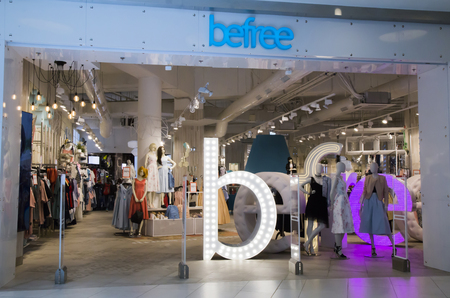 RUSSIA, MOSCOW, 23 MAY 2017 - Befree Fashion clothes shop in a big shopping mall
