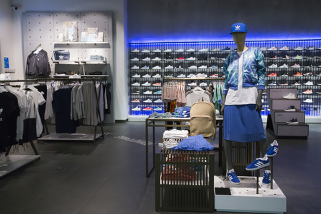 RUSSIA, MOSCOW, 23 MAY 2017 - Interior of Adidas sports boutique outlet with sport clothes