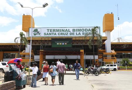 BOLIVIA, SANTA CRUZ DE LA SIERRA, 21 JANUARY 2017 - People at the Terminal Bimodal Santa Cruz de la Sierra - central bus and train station of Santa Cruz de la Sierra in Bolivia Redakční