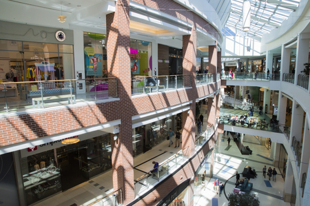 RUSSIA, MOSCOW, 14 MAY 2017 - Interior of the Big shopping mall in Moscow, Russia