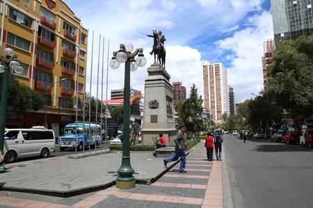 BOLIVIA, LA PAZ, 13 FEBRUARY 2017 - Prado Street boulevard and Simon Bolivar monument in La Paz, Bolivia
