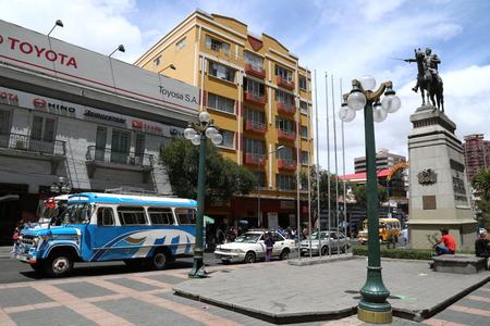 BOLIVIA, LA PAZ, 13 FEBRUARY 2017 - Simon Bolivar monument in the center of La Paz, Bolivia. El Prado Street