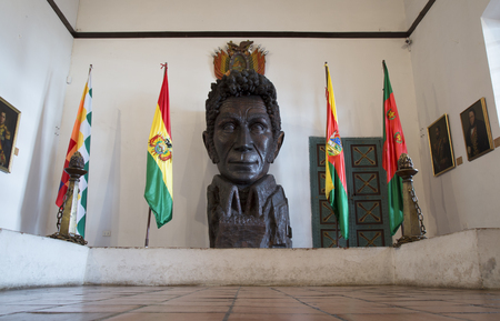 BOLIVIA, SUCRE, 9 FEBRUARY 2017 - Simon Bolivar liberator statue in Casa de Libertad - House of Freedom in Sucre, Bolivia