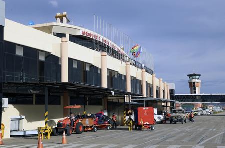 BOLIVIA, COCHABAMBA, 17 JANUARY 2017 - The terminal of Jorge Wilstermann International Airport of Cochabamba in Bolivia