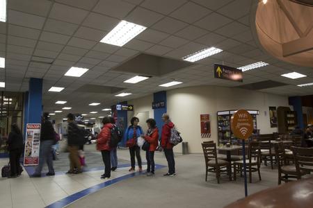 BOLIVIA, LA PAZ EL ALTO, 19 FEBRUARY 2017 - People in the waiting lounge of La Paz El Alto International Airport terminal, Bolivia Redakční