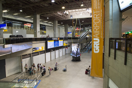 BRAZIL, SAO PAULO, 20 FEBRUARY 2017 - People in the Hall of Guarulhos International Airport, Sao Paulo, Brazil