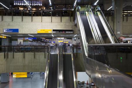 BRAZIL, SAO PAULO, 20 FEBRUARY 2017 - People blurred in the departure area of ??Guarulhos International Airport terminal, GRU, Sao Paulo, Brazil Redakční