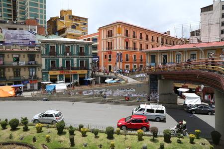 BOLIVIA, LA PAZ, 18 FEBRUARU 2017 - People at the Pas downtown, Bolivia, South America Redakční