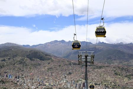 BOLIVIA, LA PAZ, 12 FEBRUARY 2017 - La Paz aerial view with Teleferico Cable car transit system Redakční