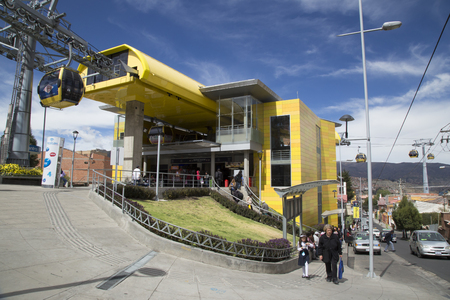 BOLIVIA, LA PAZ, 12 FEBRUARY 2017 - Teleferico Cable car station with people at the entrance