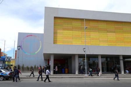 BOLIVIA, LA PAZ, EL ALTO, 12 FEBRUARY 2017 - Street of El Alto La Paz with Qhana Pata station of La Paz Teleferico Cable car system.