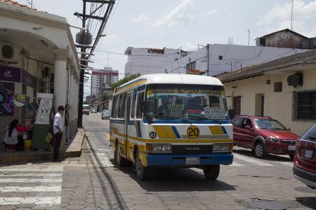 BOLIVIA, SANTA CRUZ DE LA SIERRA, 19 JANUARY 2017 - Vintage public bus in the central street of Santa Cruz De La Sierra, Bolivia Redakční