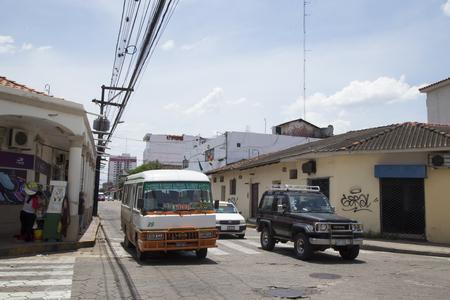 BOLIVIA, SANTA CRUZ DE LA SIERRA, 19 JANUARY 2017 - Public transport in the central street of Santa Cruz De La Sierra, Bolivia