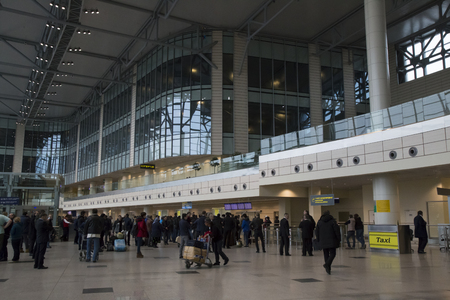 RUSSIA, MOSCOW, 18 APRIL 2017 - People in the arrival area of ??Domodedovo International Airport, Moscow, Russia