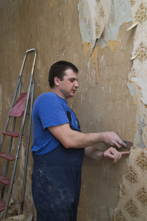 House reconstruction. Man worker removes old wallpaper of a concrete wall