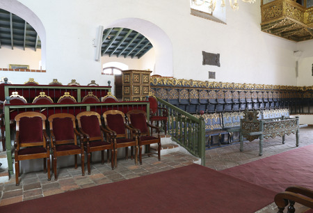 BOLIVIA, SUCRE, 9 FEBRUARY 2017 - Ancient government seats in the Hall of Independence in the House of Freedom - Casa de Libertad - where, in 1825, the Bolivian Declaration of Independence