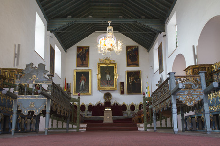 BOLIVIA, SUCRE, 9 FEBRUARY 2017 - Hall of Independence in the House of Freedom - Casa de Libertad - where, in 1825, the Bolivian Declaration of Independence Redakční