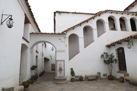 BOLIVIA, SUCRE, 9 FEBRUARY 2017 - Colonial architecture of the House of Freedom - Casa de Libertad - where, in 1825, the Bolivian declaration of independence was signed