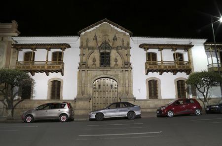 BOLIVIA, SUCRE, 9 FEBRUARY 2017 - Casa De Libertad - Facade of House of Freedom in the night