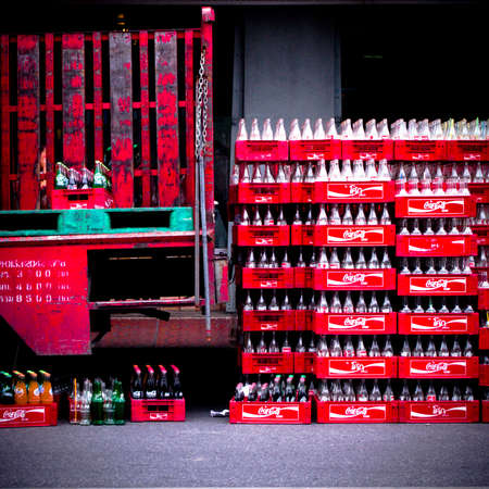 compostion: coca cola coke chest and bottle Editorial