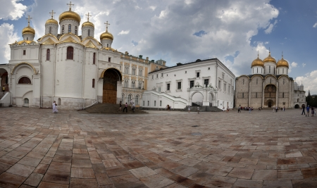 Sobornaya Square where the Assumption Cathedral and the Anuncion Cathedral Stock Photo