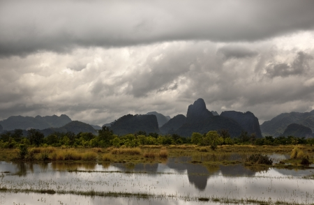 monsoon rains over a arrzoal in laos