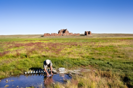 Collecting water in the gobi desert Stock Photo - 16389707