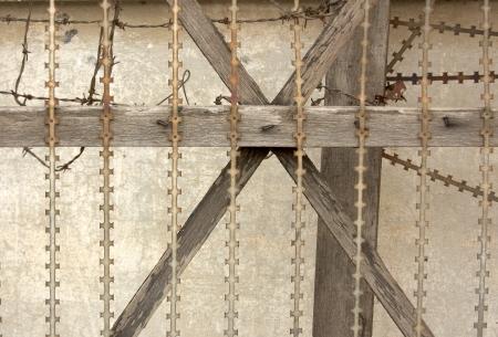 razor wire: Security door in jail  Nomh Penh