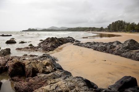 Landscape of Patnem beach in Goa during the monsoon.