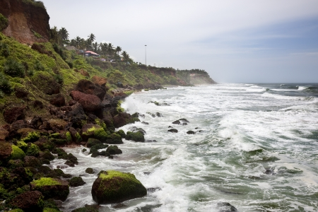 waves toward the cliffs of varkala Stock Photo - 16455066