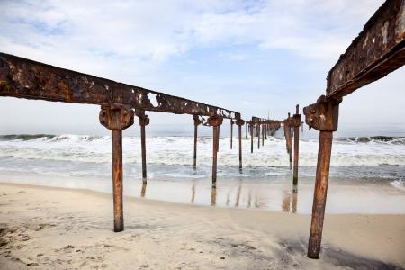 allepey: bridge oil on the beaches of Allepey Stock Photo
