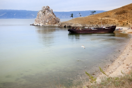boat moored on the shores of Lake Baikal Stock Photo - 16482390