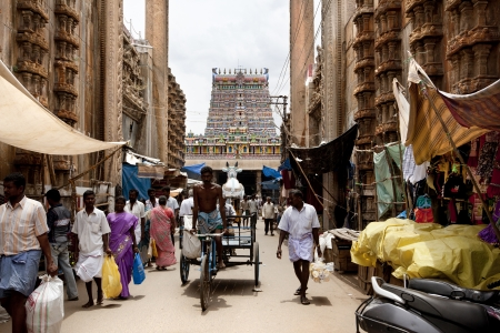 Madurai, India-September 11, 2012. A street in front of the the Sri Meenakshi Hindu Temple where many parishioners and pilgrims visit every