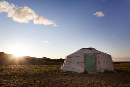 independent mongolia: The sun rises in the Gobi desert Stock Photo