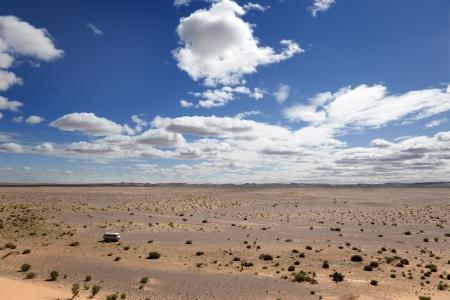 Van in a Gobi desert