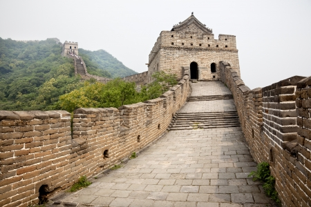 great wall of china lost in the fog Stock Photo