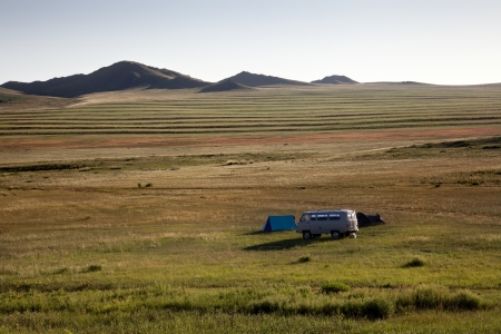 independent mongolia: Camping in the Gobi desert at sunset
