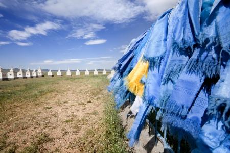 independent mongolia: monument in the Gobi Desert of Mongolia horses