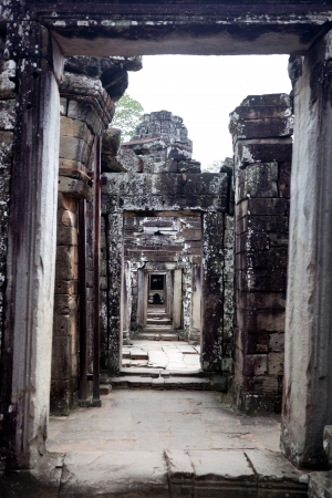 perspective created by the columns of a temple of angkor
