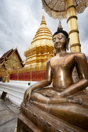 Golden, big Budha  Doi Suithep, Chiang Mai, Tahilandia Stock Photo