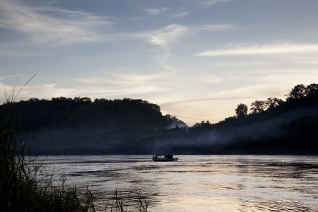 sunset on the Mekong River photo