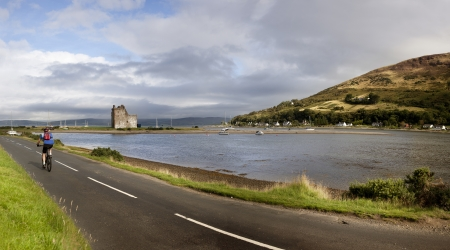 Panoramic view of Lochranza bay and the castle on the Isle of Arran, Scotland  Stock Photo