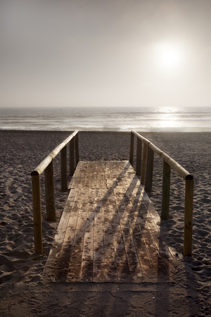 non la: Wooden bridge at beach on twilight time in La Serena, Chile