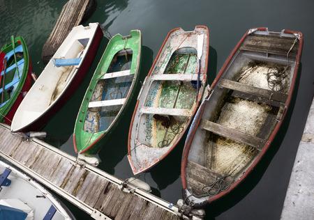 skiff: Harbour boats in Donosti. Spain