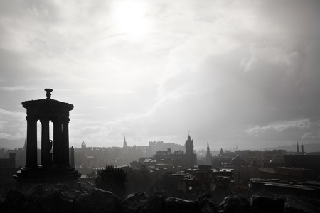 scott monument: After the rain, showing a view from Calton Hill towards Edinburgh Castle and the Scott Monument